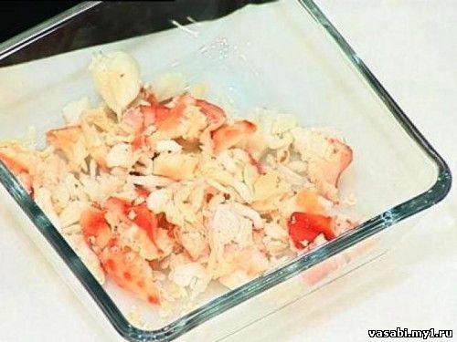 рецепт крабового салата с сухариками